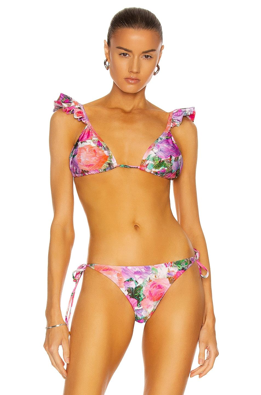 Image 1 of PatBO Blossom Ruffle Bikini Top in Rose