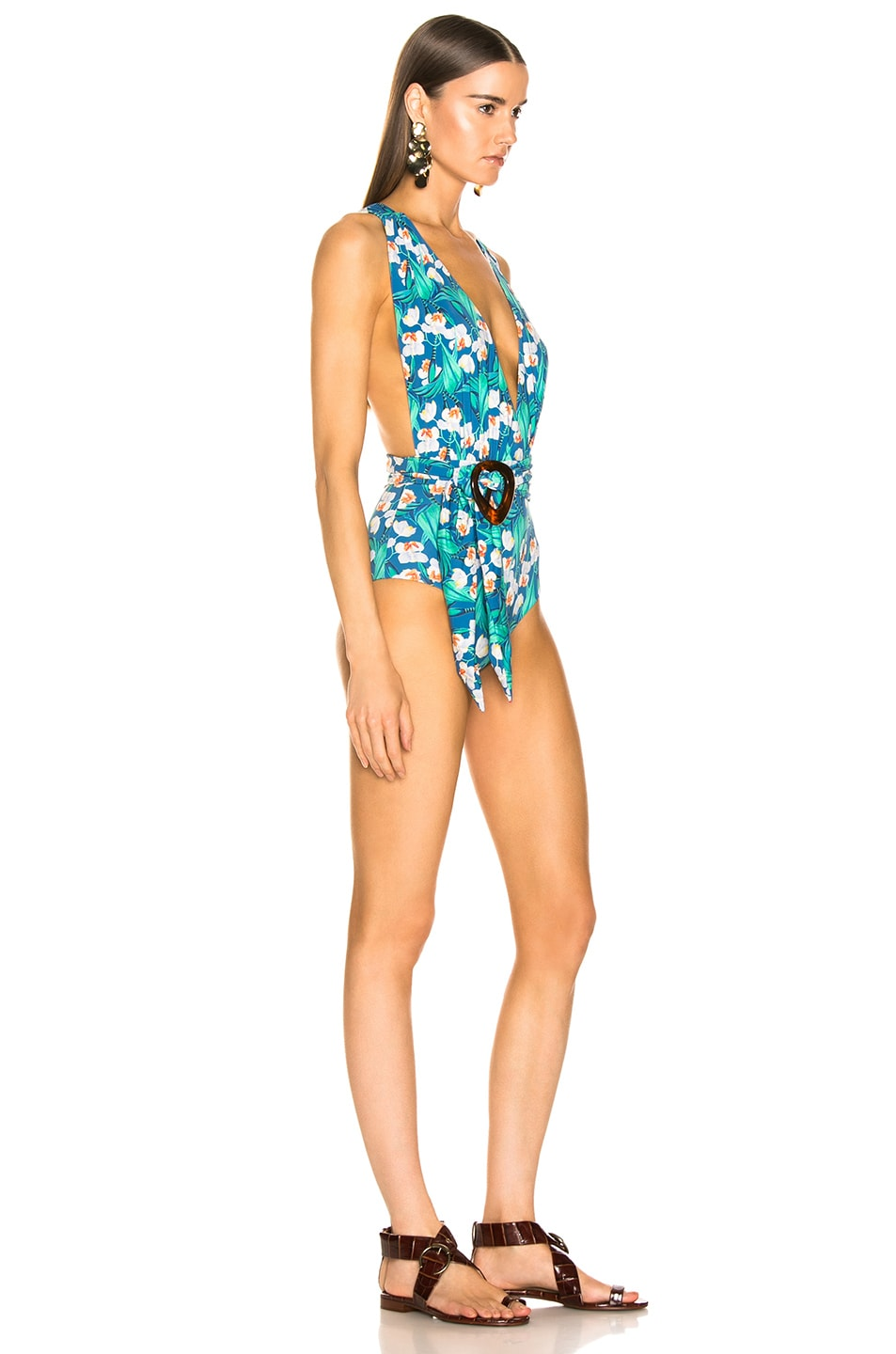 Image 2 of PatBo Floral Belted Plunge One Piece in Black