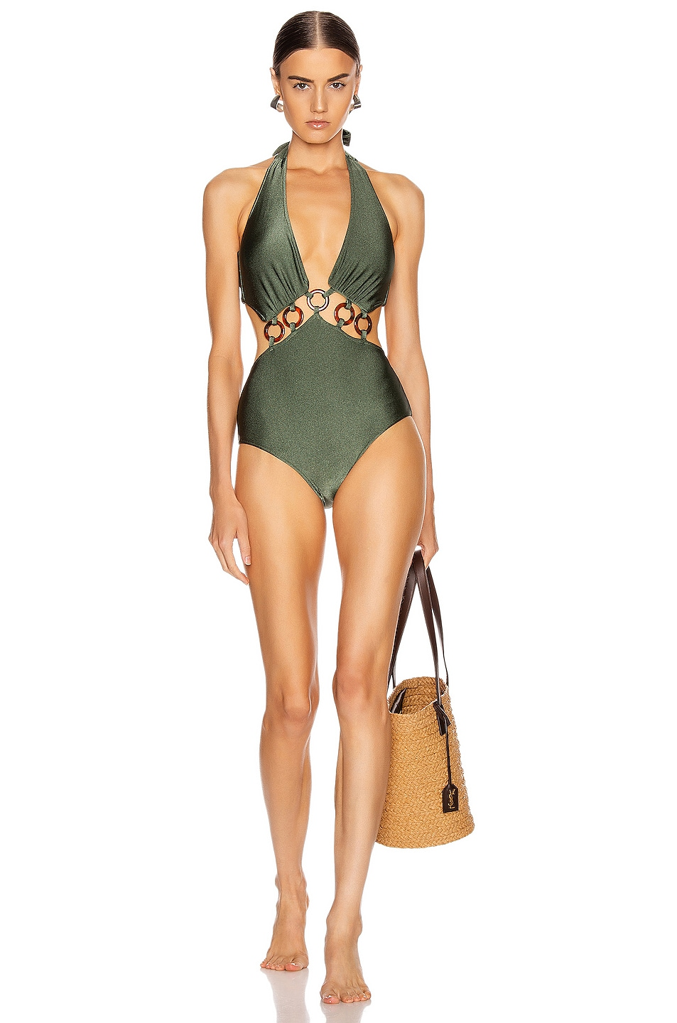 Image 1 of PatBO Halterneck One Piece in Olive
