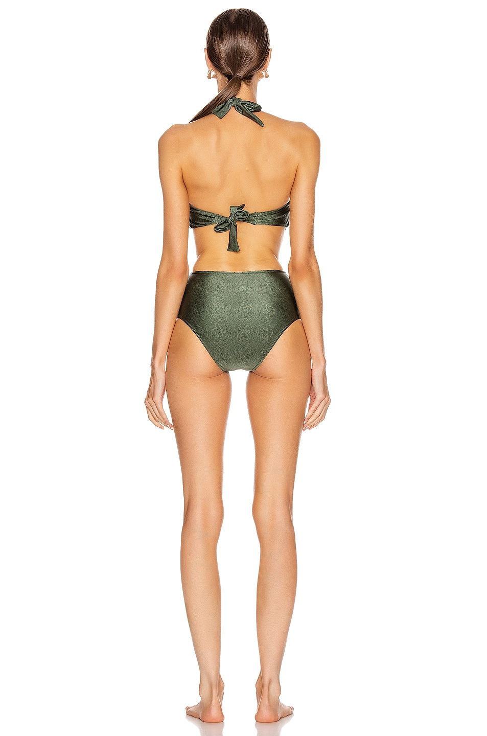 Image 3 of PatBO Halterneck One Piece in Olive