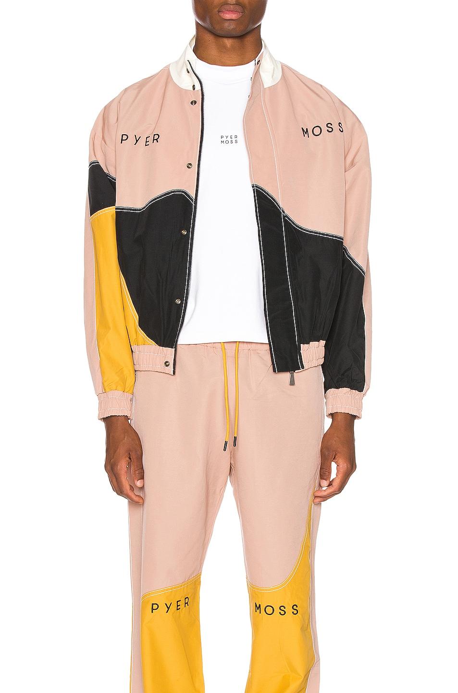 Image 2 of Pyer Moss Logo Wave Track Jacket in Pink & Gold & Black