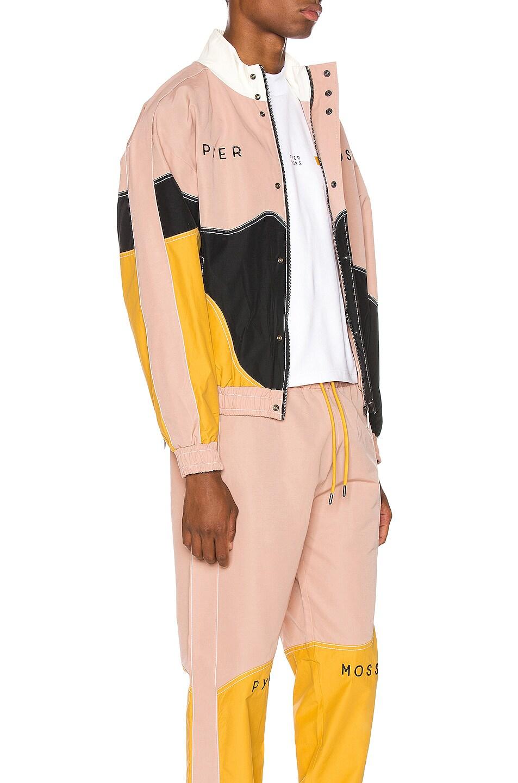 Image 3 of Pyer Moss Logo Wave Track Jacket in Pink & Gold & Black
