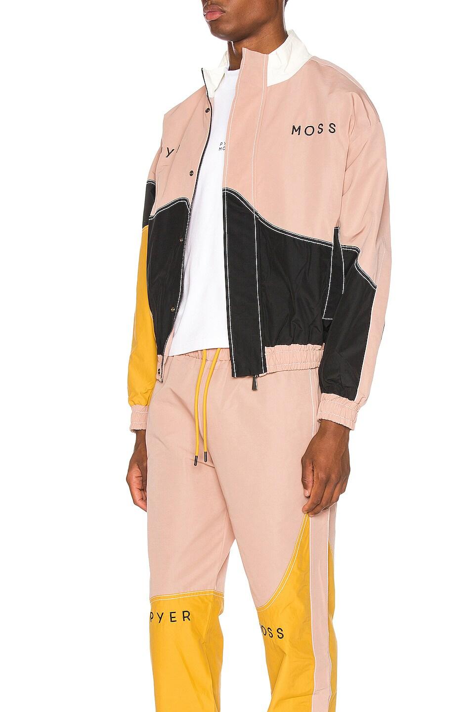 Image 4 of Pyer Moss Logo Wave Track Jacket in Pink & Gold & Black
