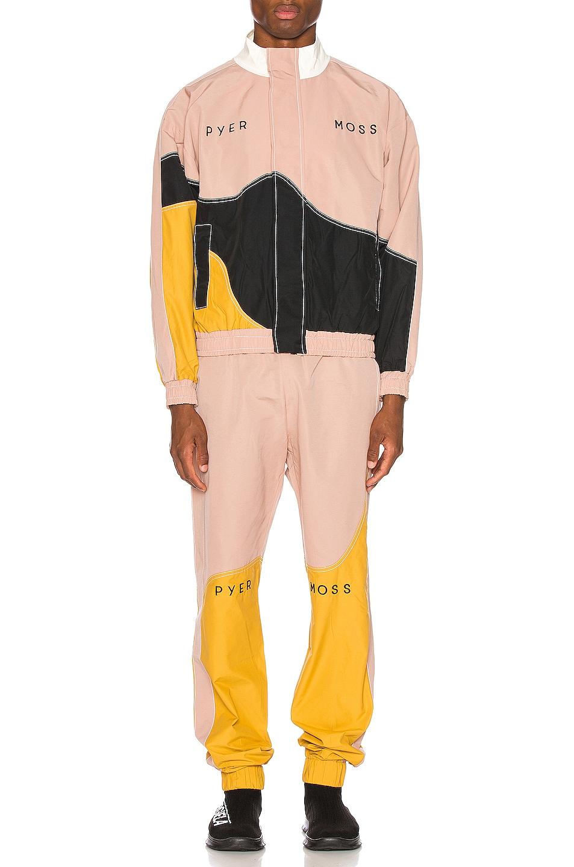Image 6 of Pyer Moss Logo Wave Track Jacket in Pink & Gold & Black