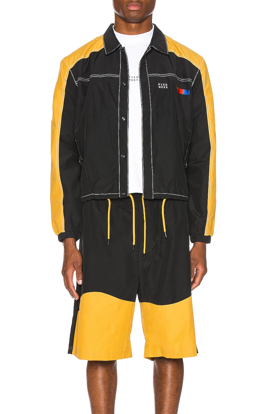 Image 1 of Pyer Moss Signature Coaches Jacket in Black & Yellow