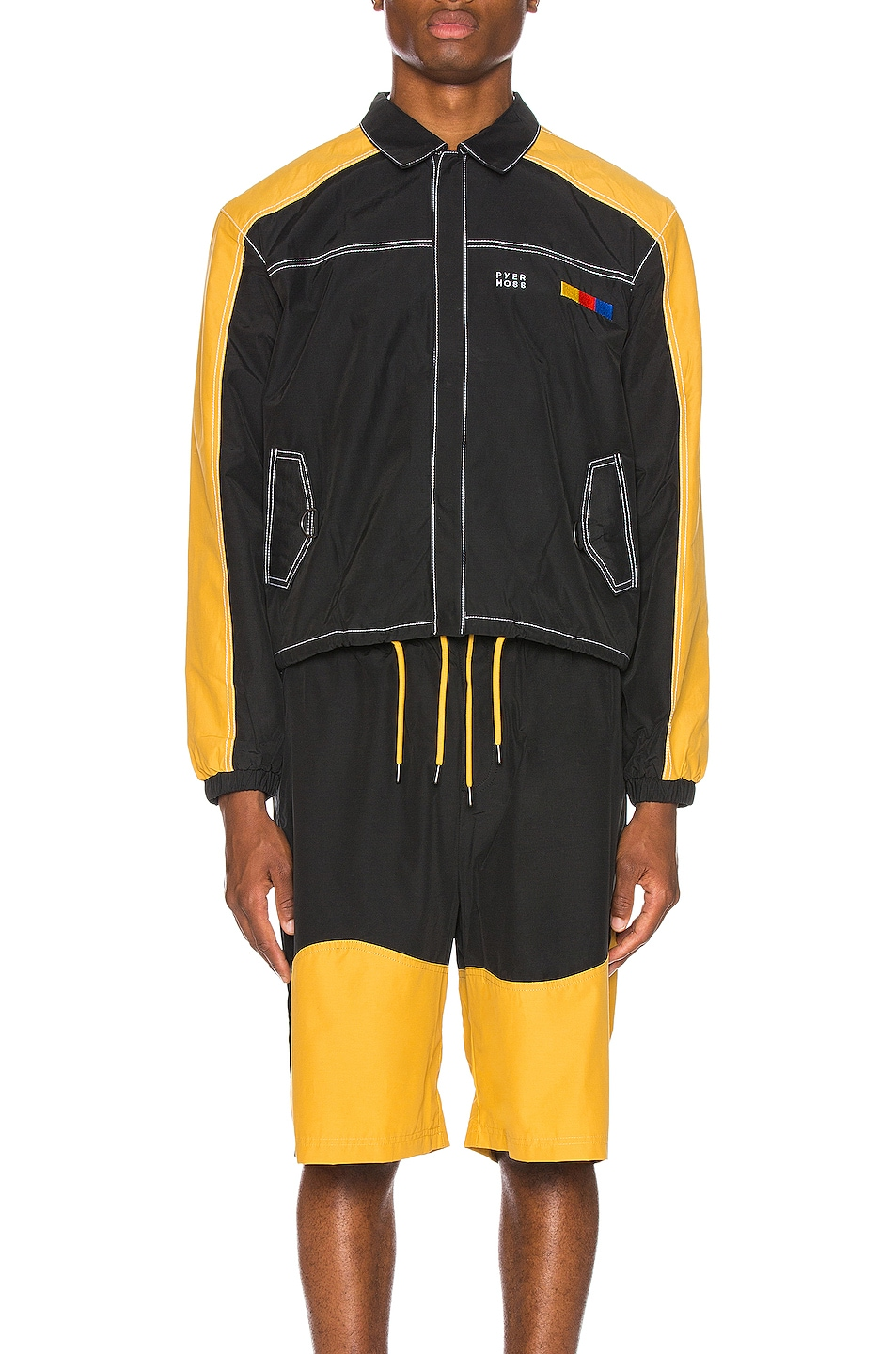 Image 2 of Pyer Moss Signature Coaches Jacket in Black & Yellow