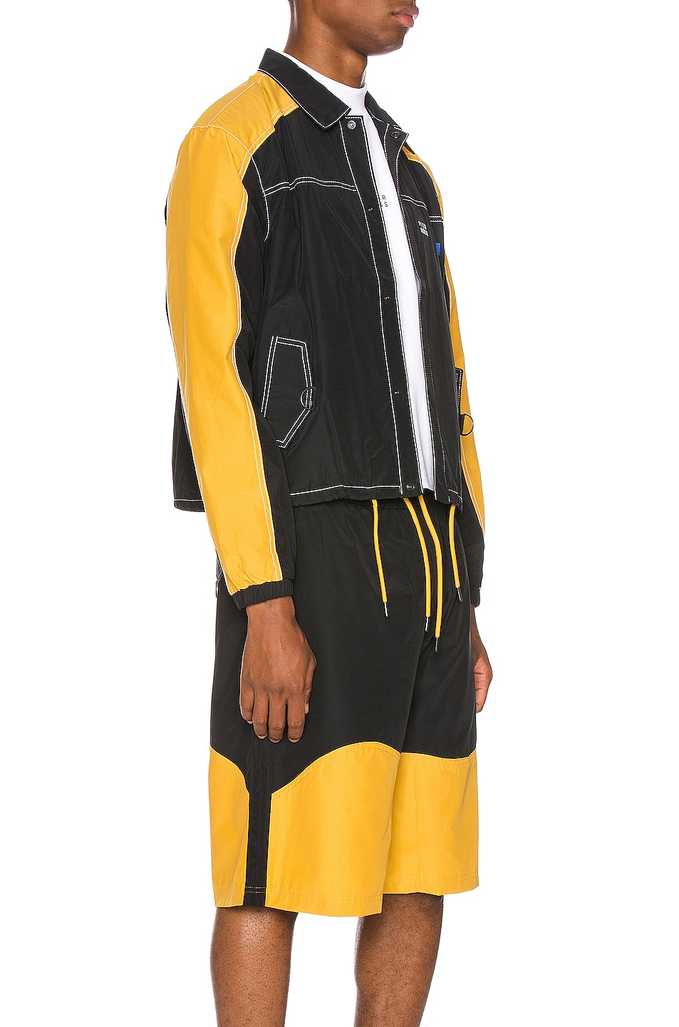 Image 3 of Pyer Moss Signature Coaches Jacket in Black & Yellow