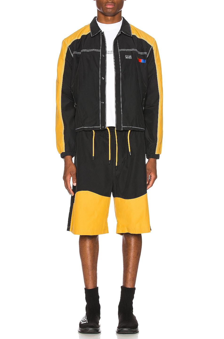 Image 6 of Pyer Moss Signature Coaches Jacket in Black & Yellow