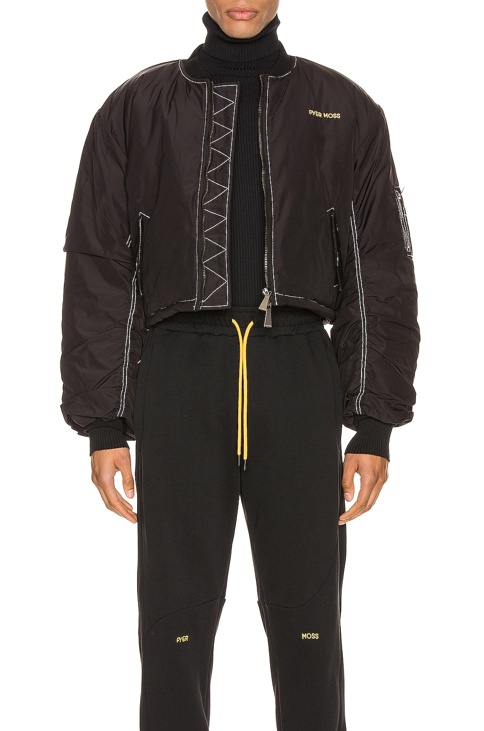 Image 1 of Pyer Moss Logo Embroidered Nylon Bomber Jacket in Black