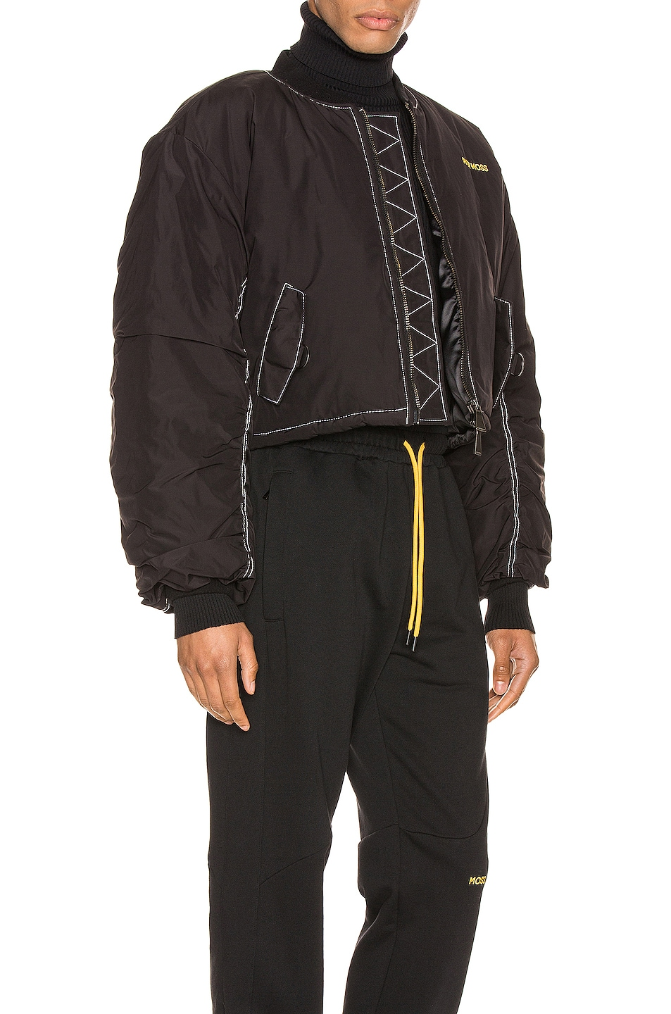 Image 3 of Pyer Moss Logo Embroidered Nylon Bomber Jacket in Black