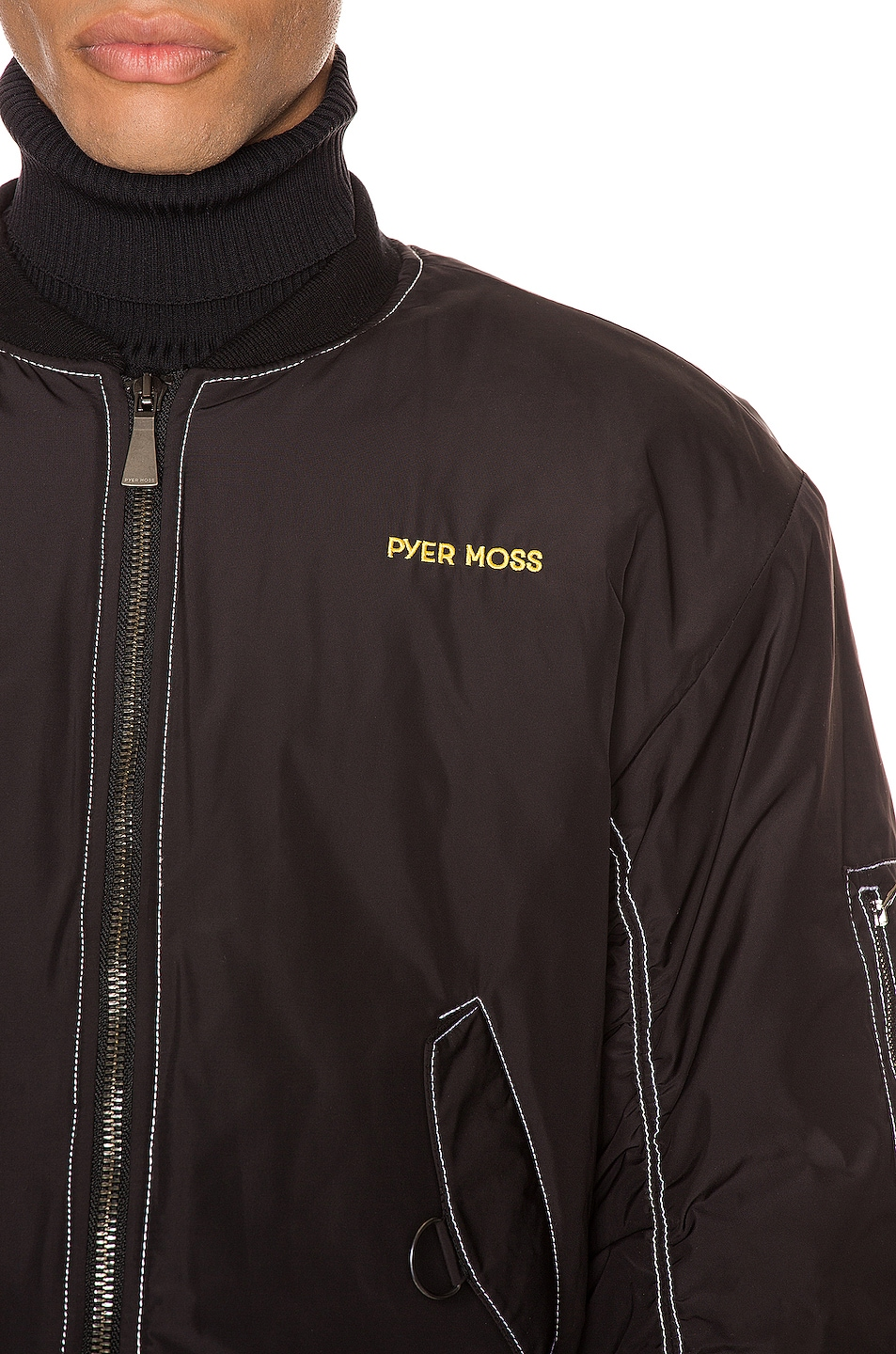 Image 7 of Pyer Moss Logo Embroidered Nylon Bomber Jacket in Black