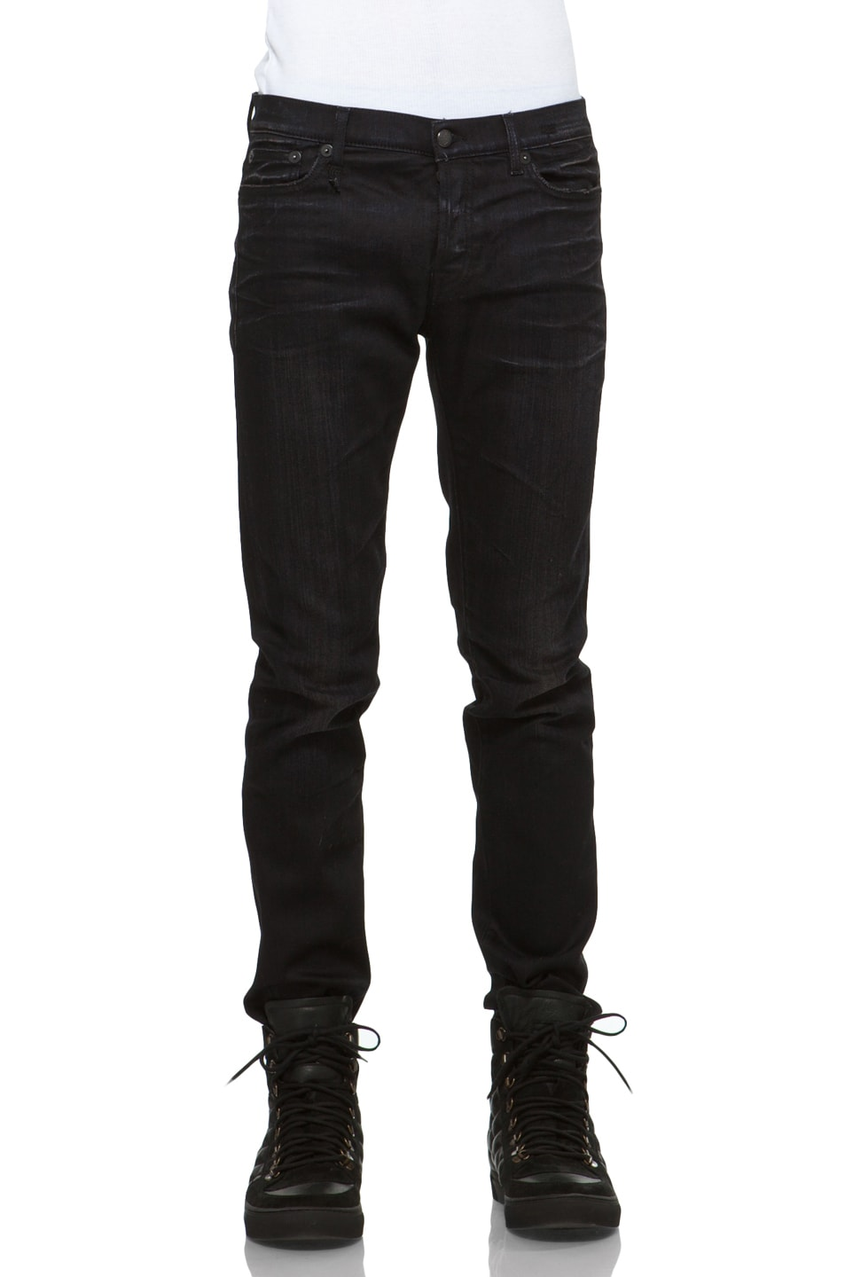 Image 1 of R13 Low Skinny Jeans in Blue Black