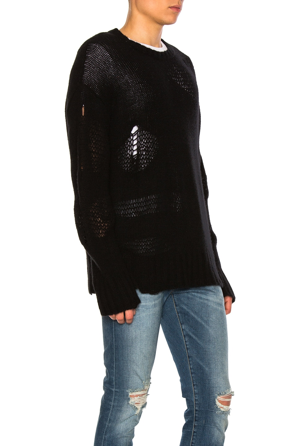 R13 Ripped Oversized Cashmere Sweater in Black | FWRD
