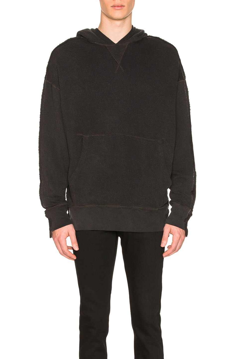 R13  R13 TWO TONED SEAMED HOODIE IN BLACK
