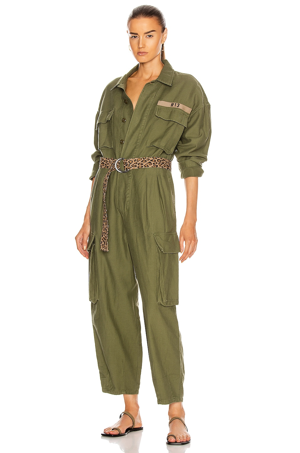 Image 1 of R13 Abu Jumpsuit in Olive