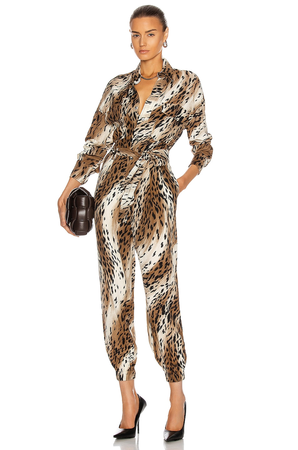 Image 1 of R13 Utility Jumpsuit in Abstract Cheetah