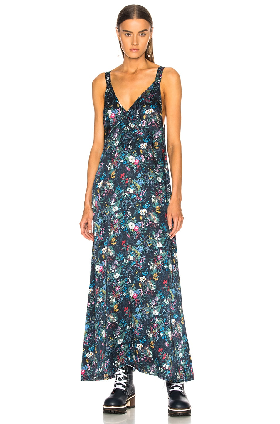 FLORAL-PRINT SILK-GEORGETTE MAXI DRESS