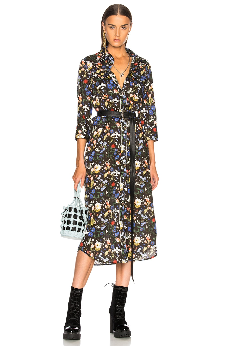 Image 1 of R13 3/4 Sleeve Cowboy Dress in Multicolor on Black Floral