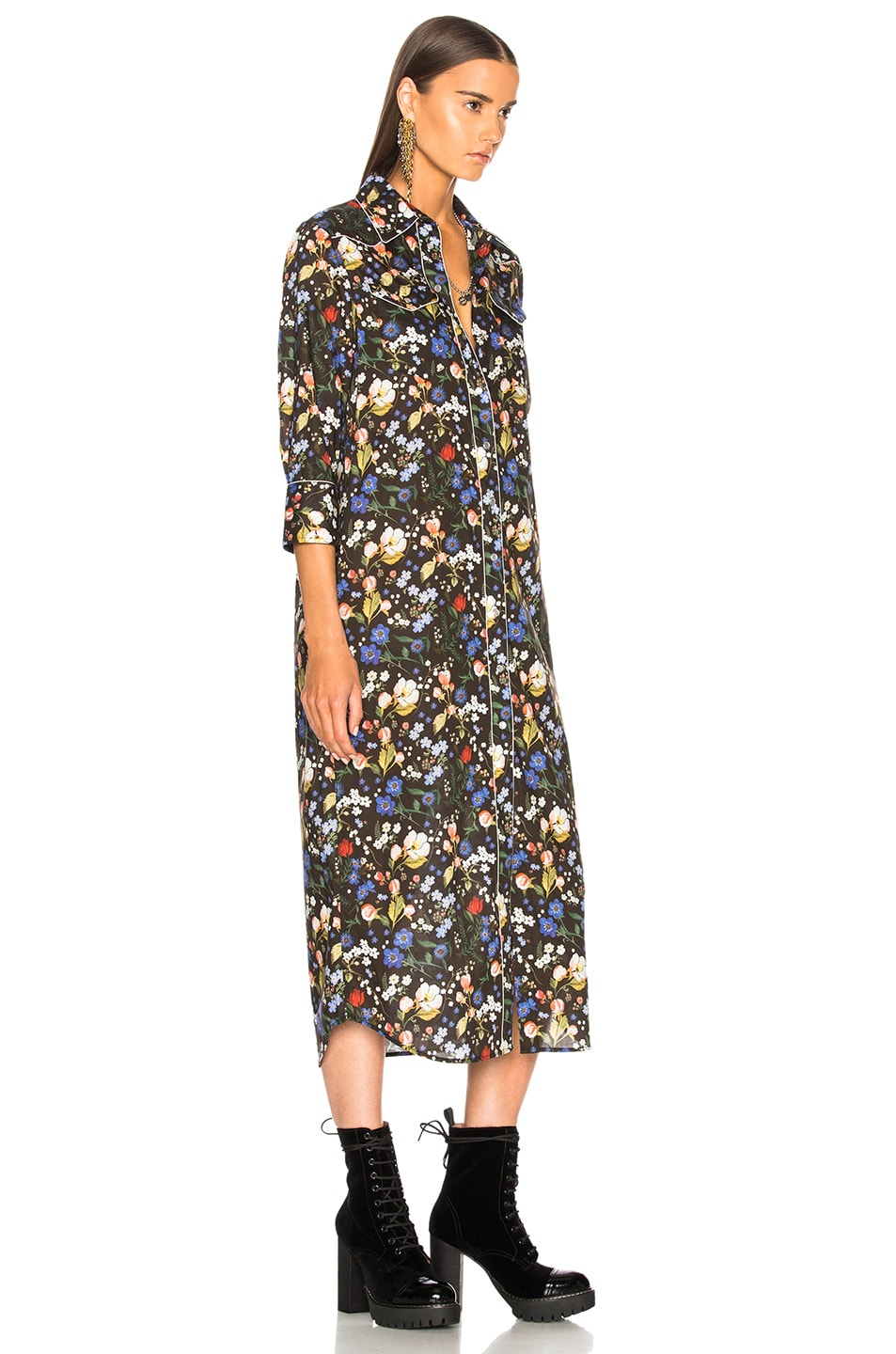 Image 3 of R13 3/4 Sleeve Cowboy Dress in Multicolor on Black Floral