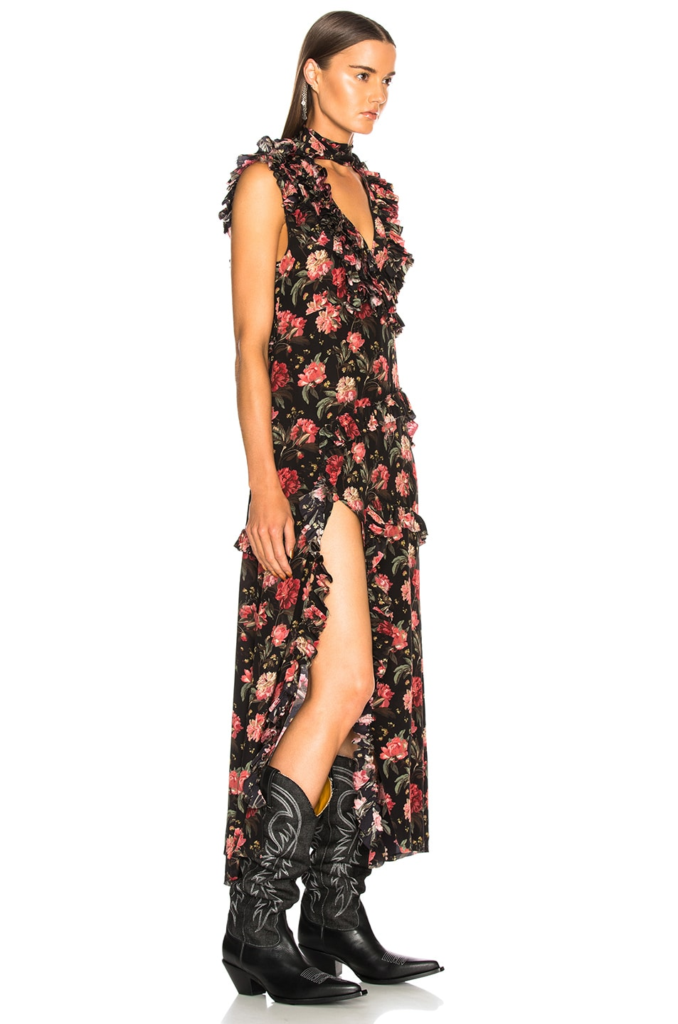 Image 2 of R13 Ruffle Slit Dress in Black Large Floral