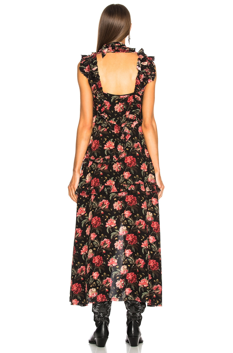 Image 3 of R13 Ruffle Slit Dress in Black Large Floral