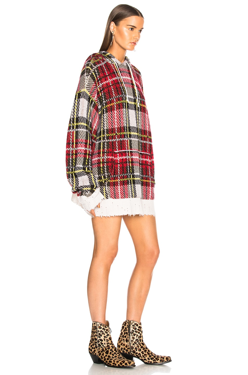 Image 2 of R13 Hoodie Dress in White Multi Plaid