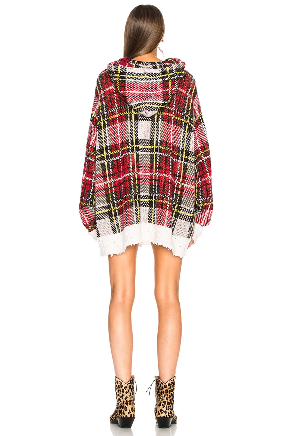 Image 3 of R13 Hoodie Dress in White Multi Plaid