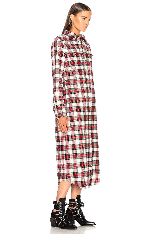 Image 2 of R13 Long Cowboy Shirt Dress in Ecru & Red Plaid