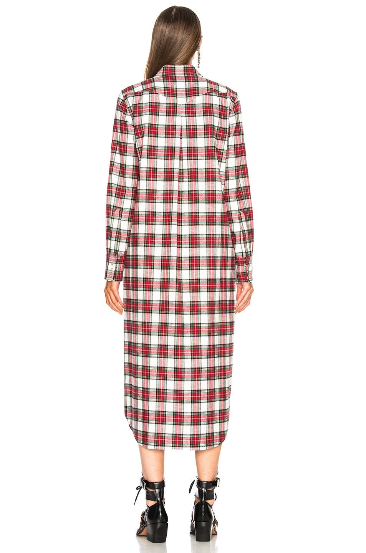 Image 3 of R13 Long Cowboy Shirt Dress in Ecru & Red Plaid