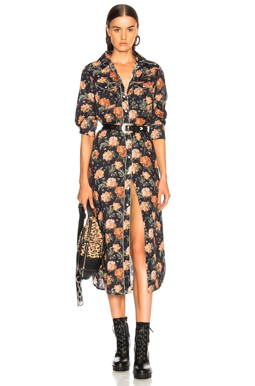 Image 1 of R13 3/4 Sleeve Cowboy Dress in Dark Floral