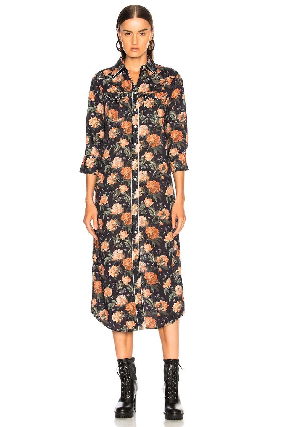Image 2 of R13 3/4 Sleeve Cowboy Dress in Dark Floral