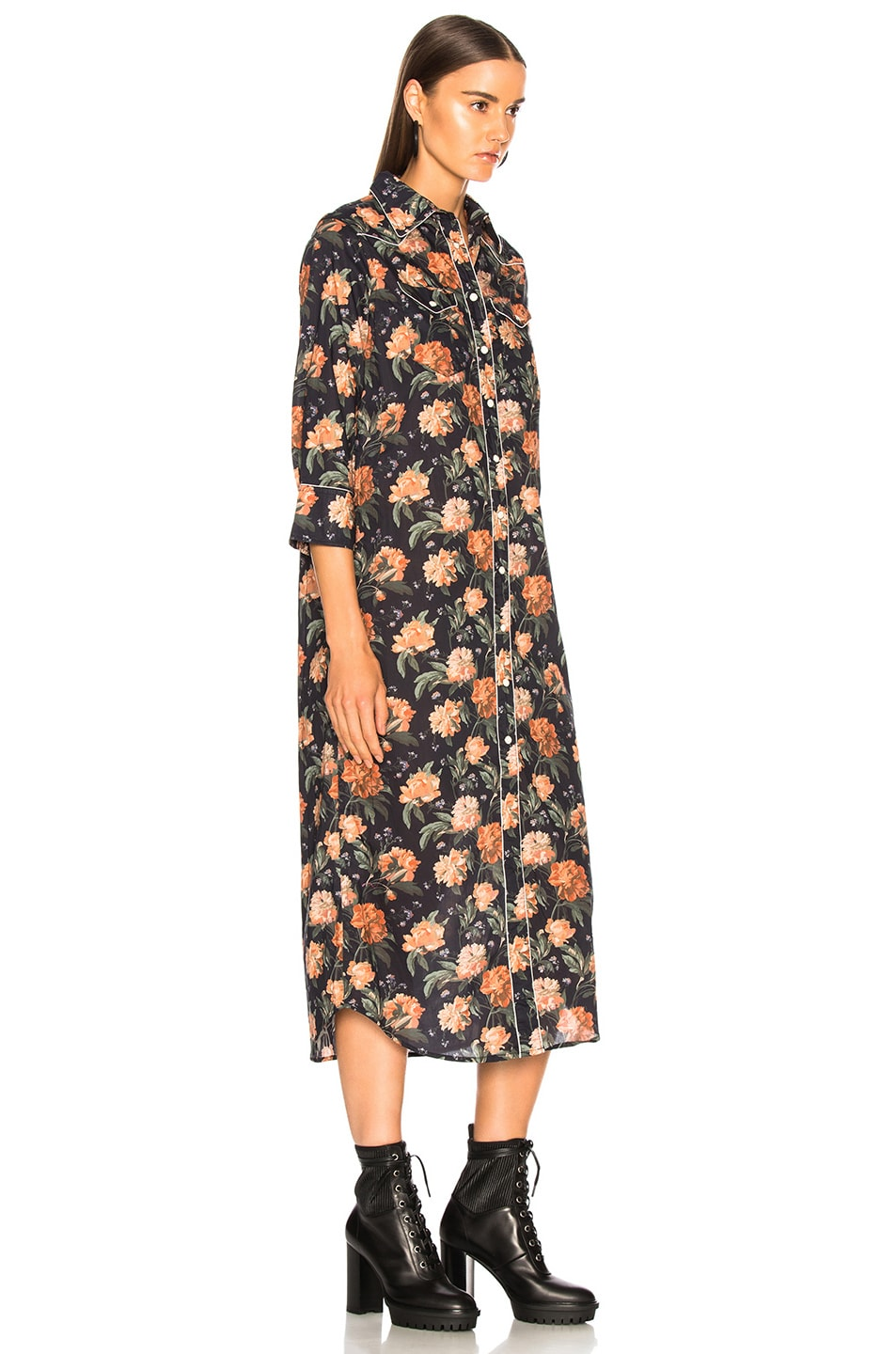 Image 3 of R13 3/4 Sleeve Cowboy Dress in Dark Floral