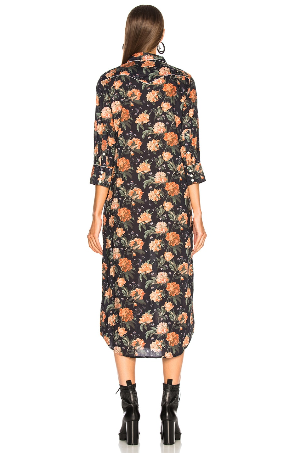 Image 4 of R13 3/4 Sleeve Cowboy Dress in Dark Floral