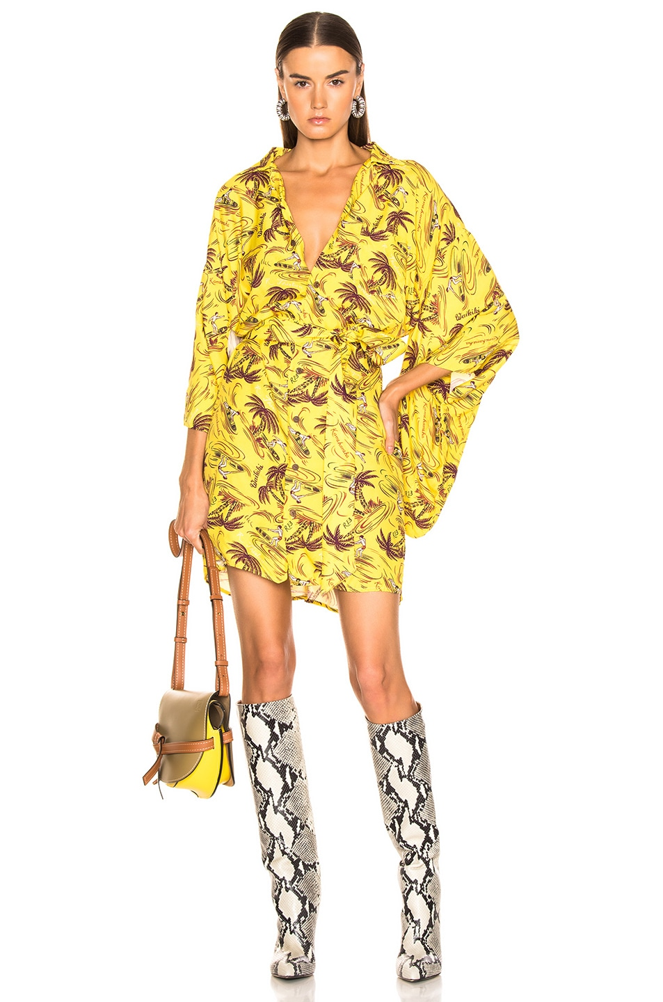 Image 1 of R13 Hawaiian Kimono Dress in Yellow Surfer