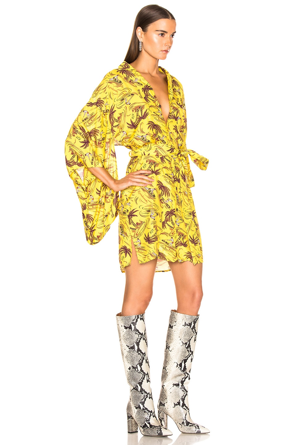 Image 2 of R13 Hawaiian Kimono Dress in Yellow Surfer