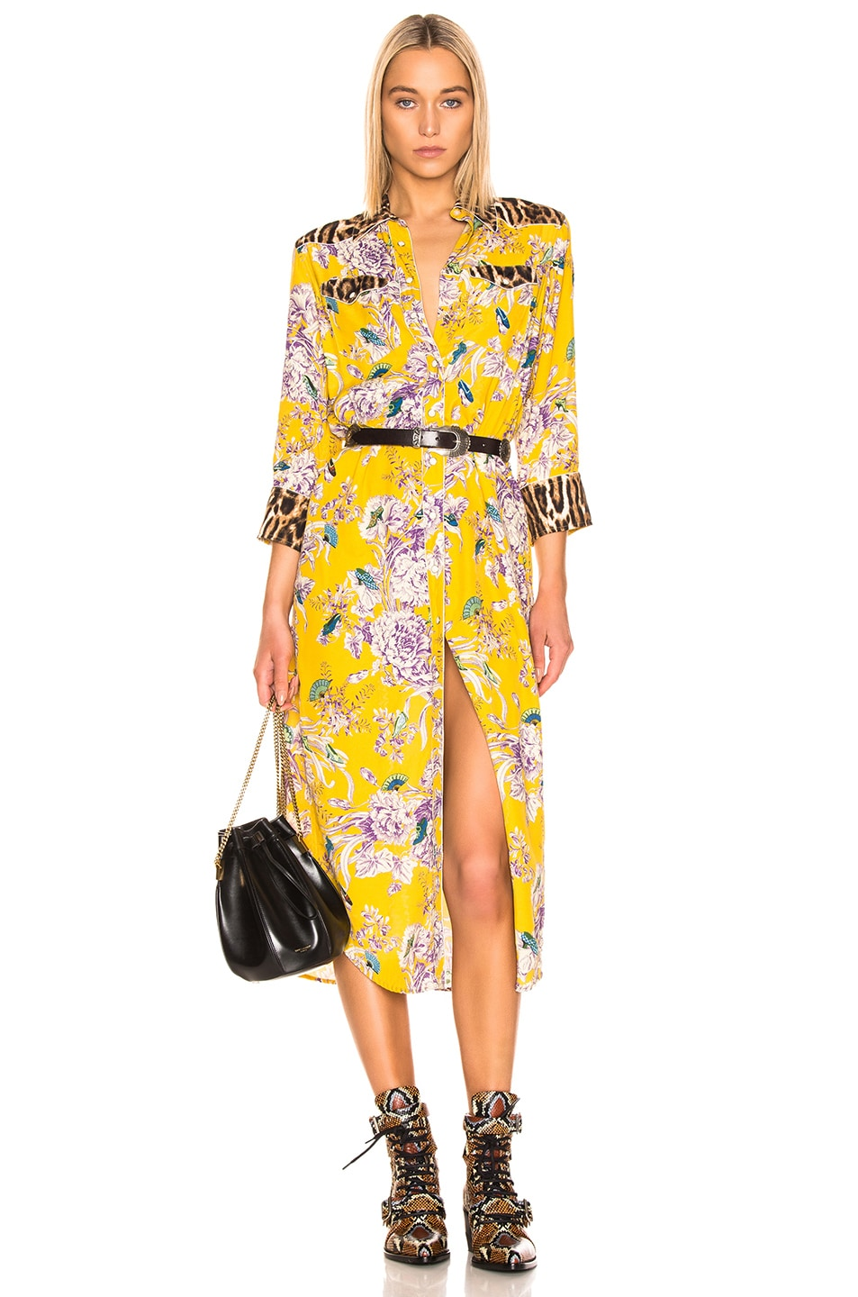 Image 1 of R13 3/4 Sleeve Cowboy Combo Dress in Mustard Floral & Leopard