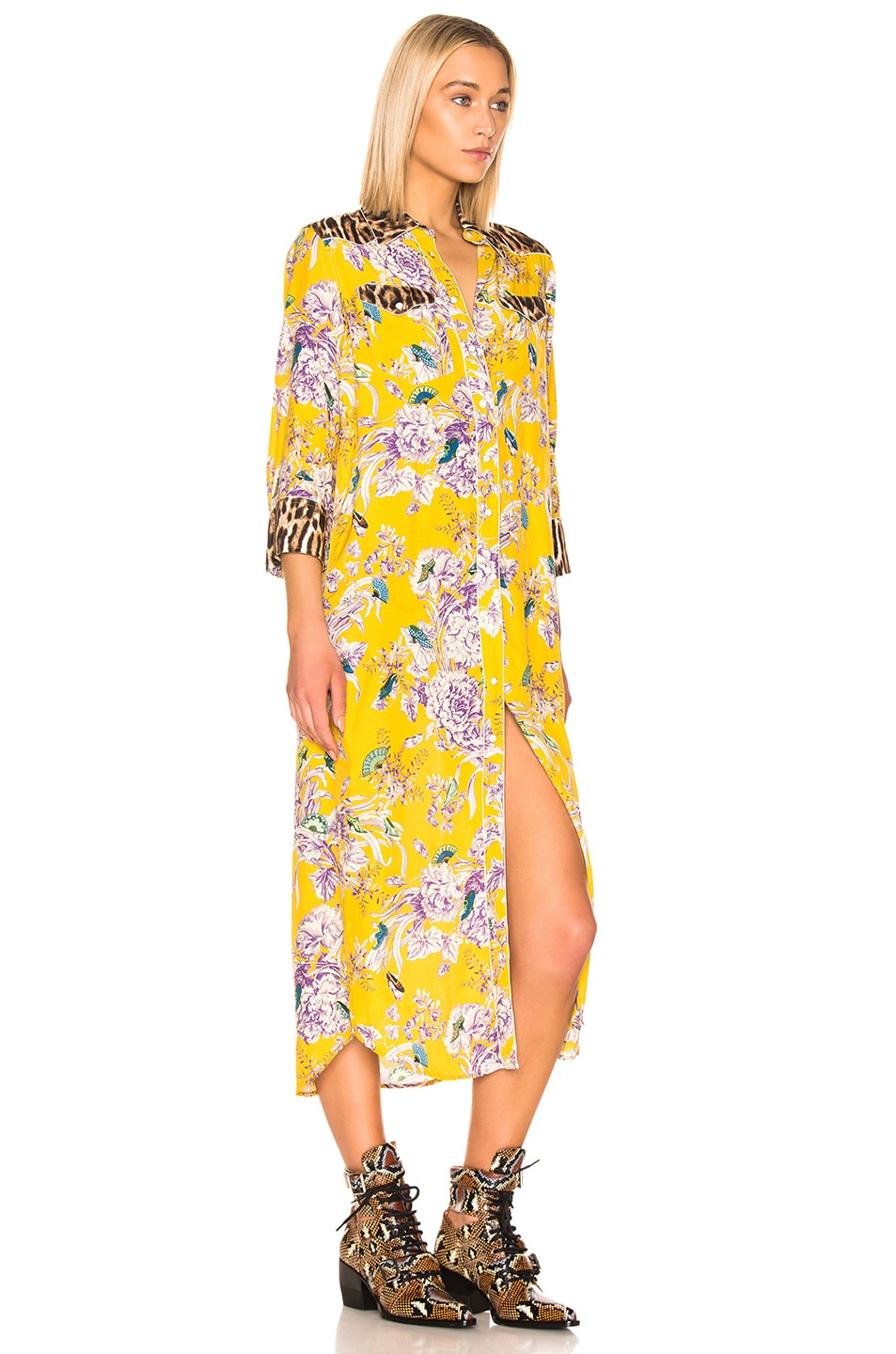 Image 2 of R13 3/4 Sleeve Cowboy Combo Dress in Mustard Floral & Leopard