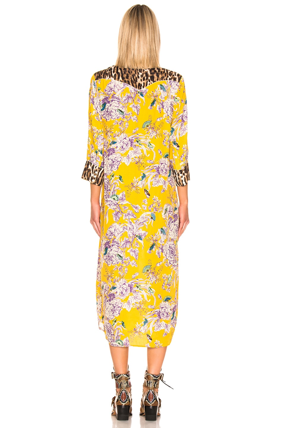 Image 3 of R13 3/4 Sleeve Cowboy Combo Dress in Mustard Floral & Leopard