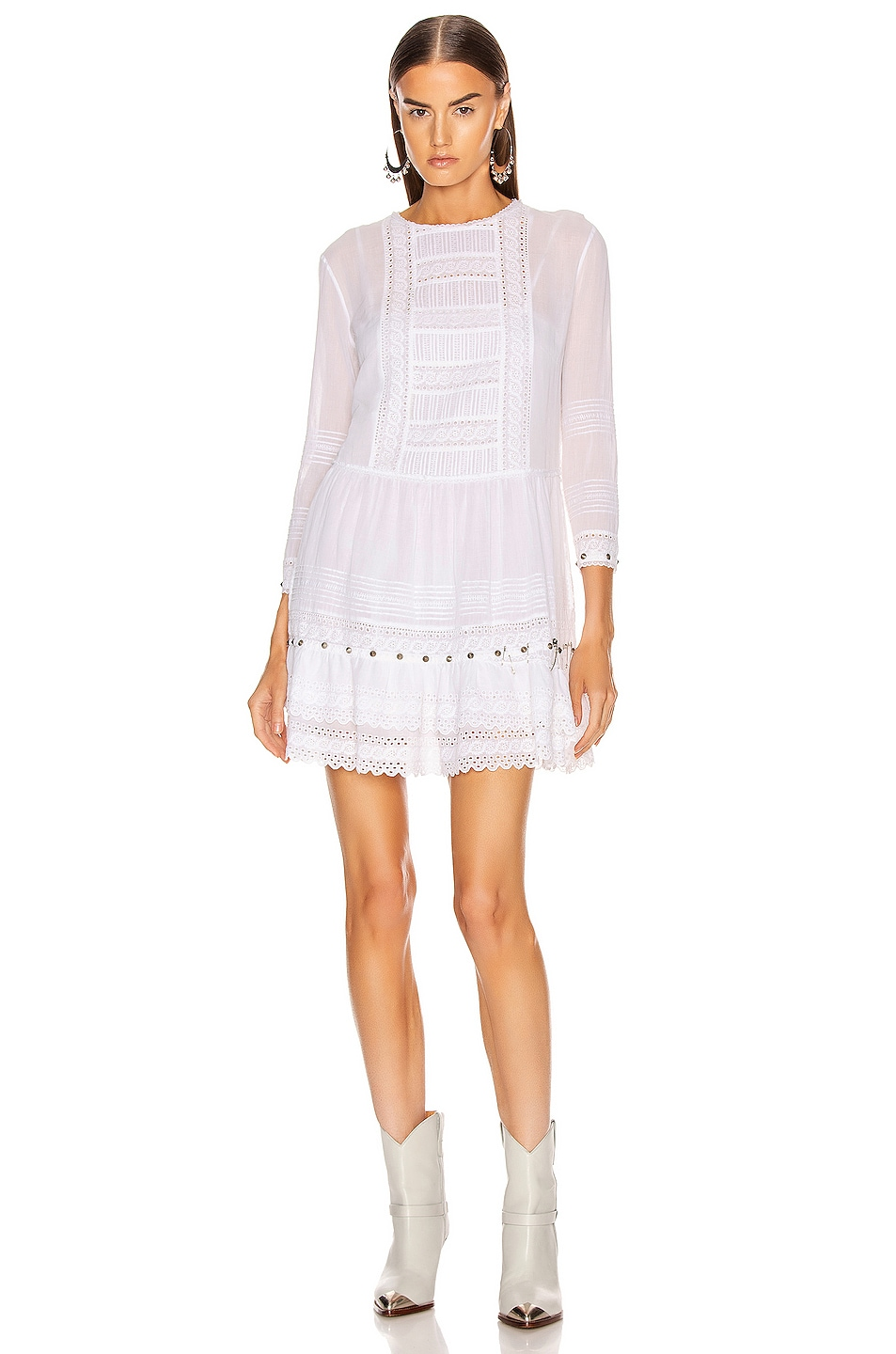 Image 1 of R13 Lacy Gauze Dress in White