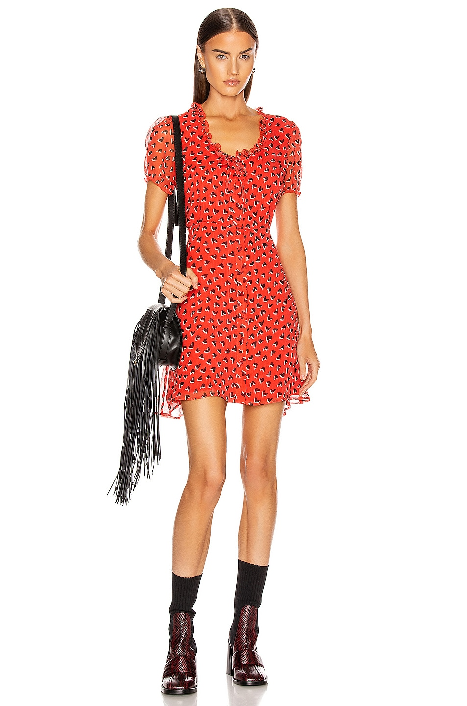 Image 1 of R13 Front Button Up Babydoll Dress in Red & Black Heart
