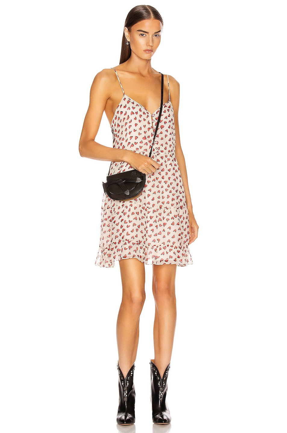 Image 1 of R13 Tiered Slip Dress in White & Red Heart Leopard