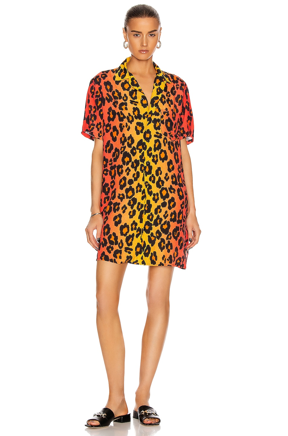 Image 1 of R13 Skater Shirt Dress in Ombre Leopard