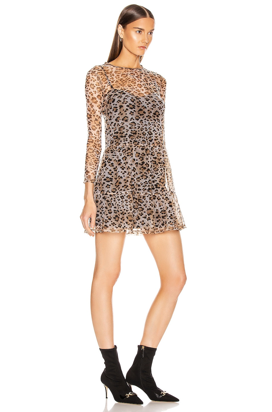 Image 2 of R13 Mesh Long Sleeve Babydoll Dress with Slip in Leopard