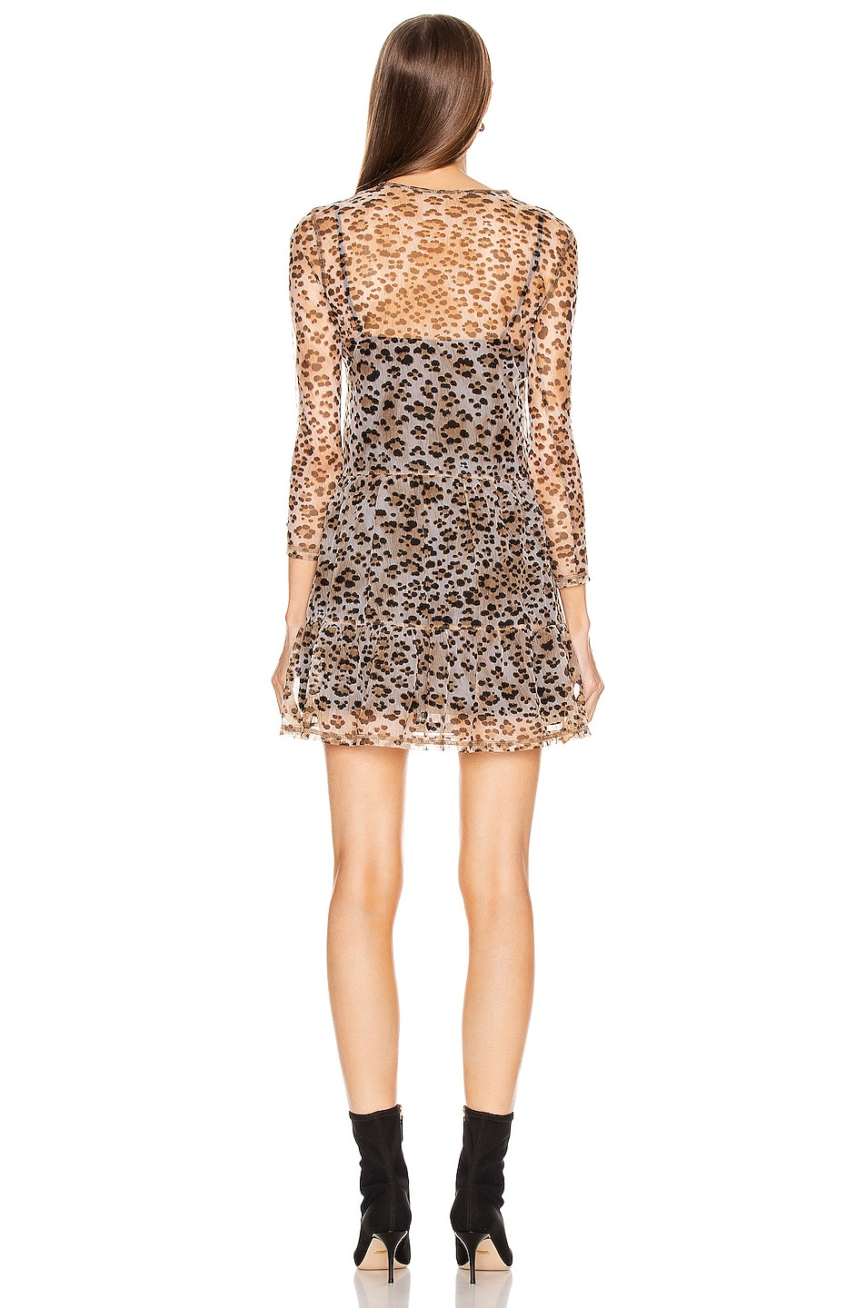 Image 3 of R13 Mesh Long Sleeve Babydoll Dress with Slip in Leopard
