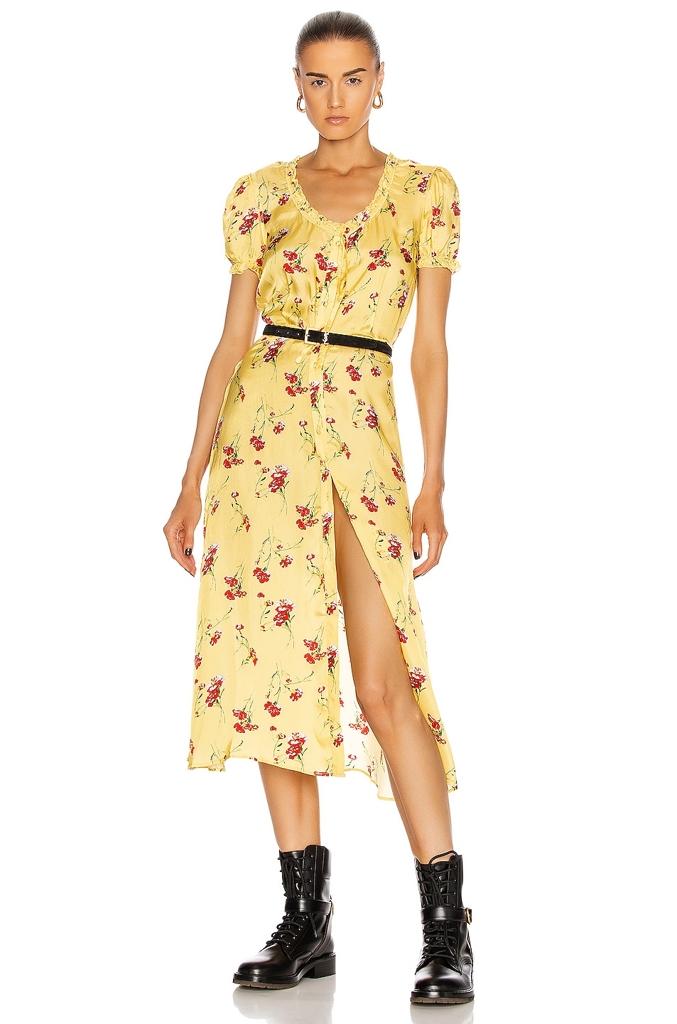 Image 1 of R13 Front Button-Up Midi in Yellow Floral