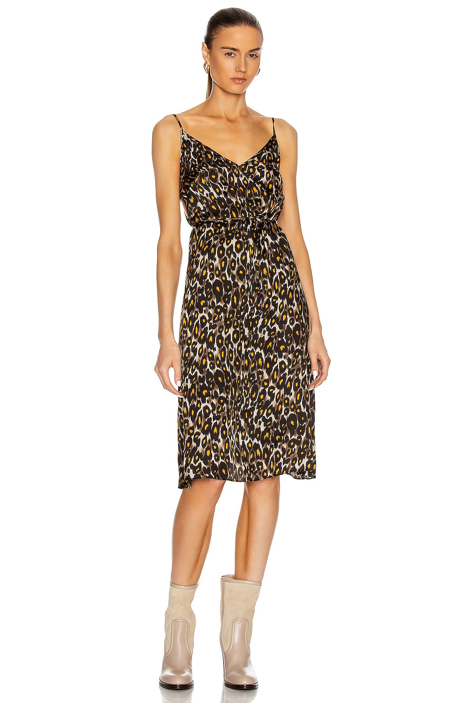 Image 1 of R13 Midi Slip With Back Tie in Grey & Orange Leopard