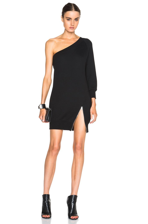 Image 1 of R13 Asymmetric Sweatshirt Dress in Black
