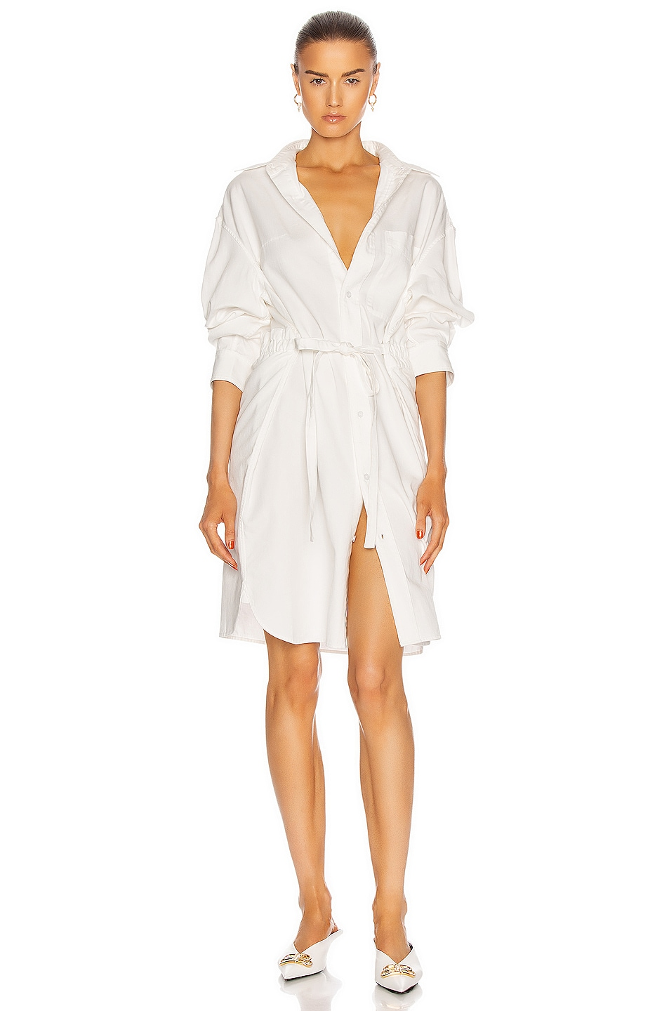 Image 1 of R13 Oversized Button Up Shirt Dress in White