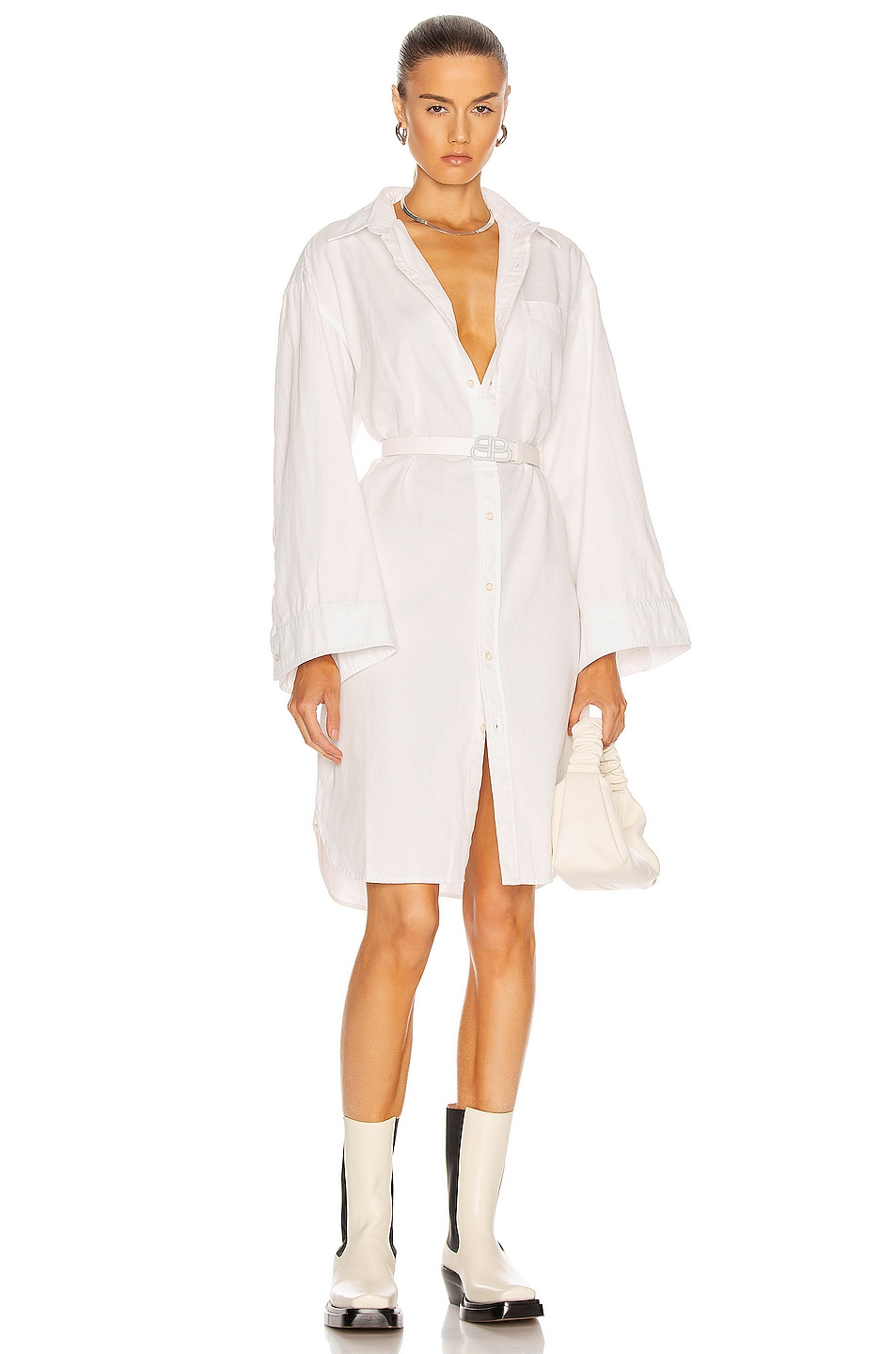Image 1 of R13 Oversized Sleeve Button Up Shirt Dress in White