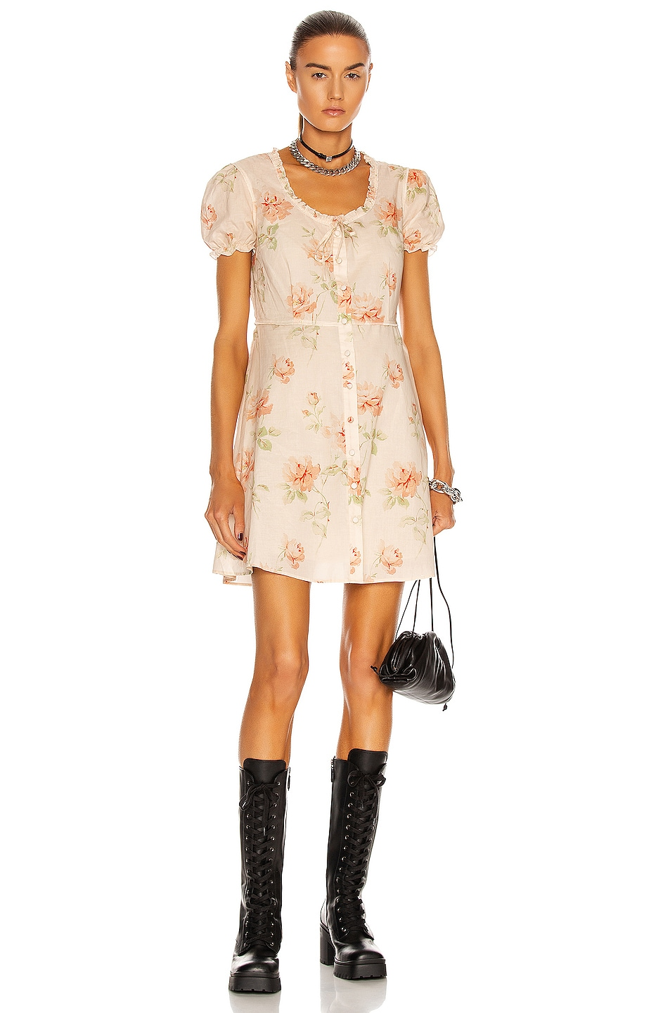 Image 1 of R13 Babydoll Mini Dress in Pale Rose